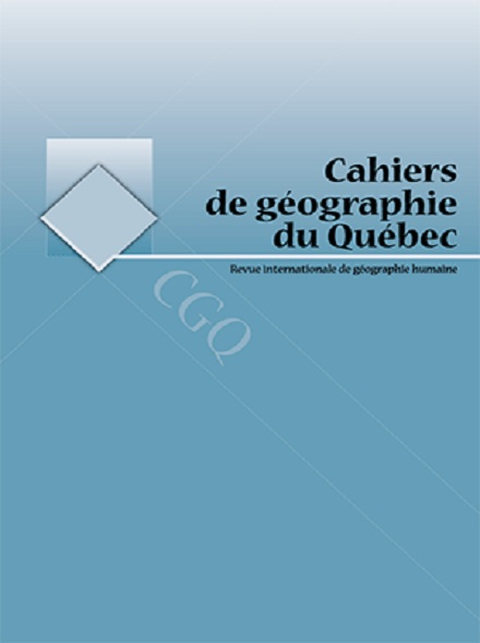 Subscription CAHIERS DE GEOGRAPHIE DU QUEBEC